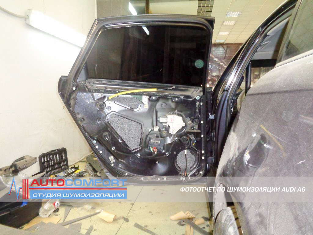 Шумоизоляция дверей AUDI A6 C6 фото
